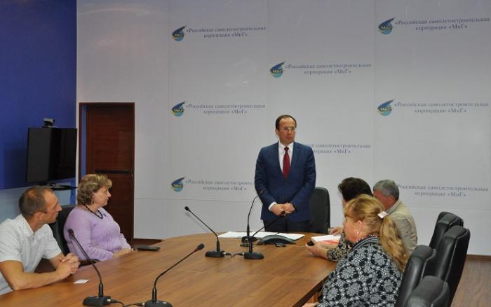 Виталий Фёдоров встретился с сотрудниками РСК «МиГ» в Луховицах (16.09.2016)