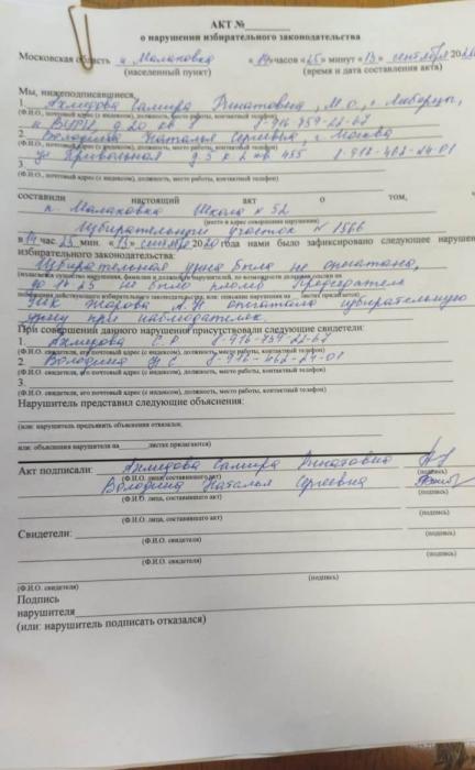 Массовые нарушения на выборах в Люберцах
