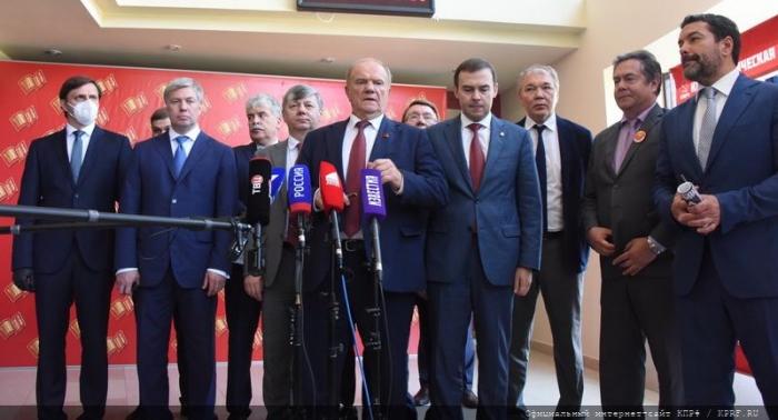 Пресс-подход в перерыве второго этапа XVIII съезда КПРФ